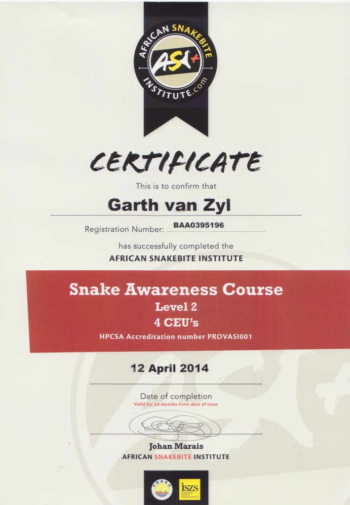 snake awareness course level 2 certificate 001